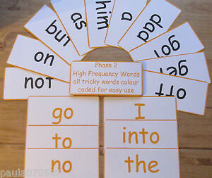 High Frequency Words flash cards Phases 2 - 5 colour coded EXTRA large 20 x 9.5