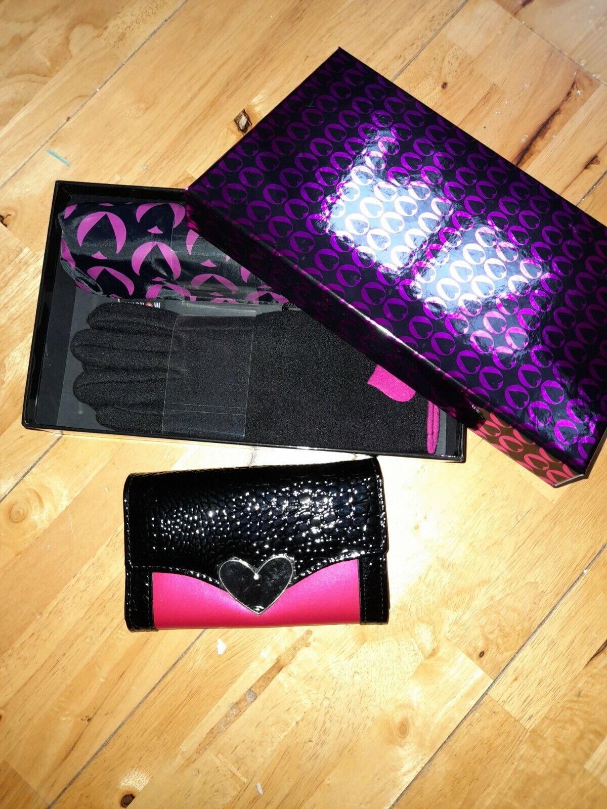 Morgan Purse Umbrella Gloves Set Pink Black New Box