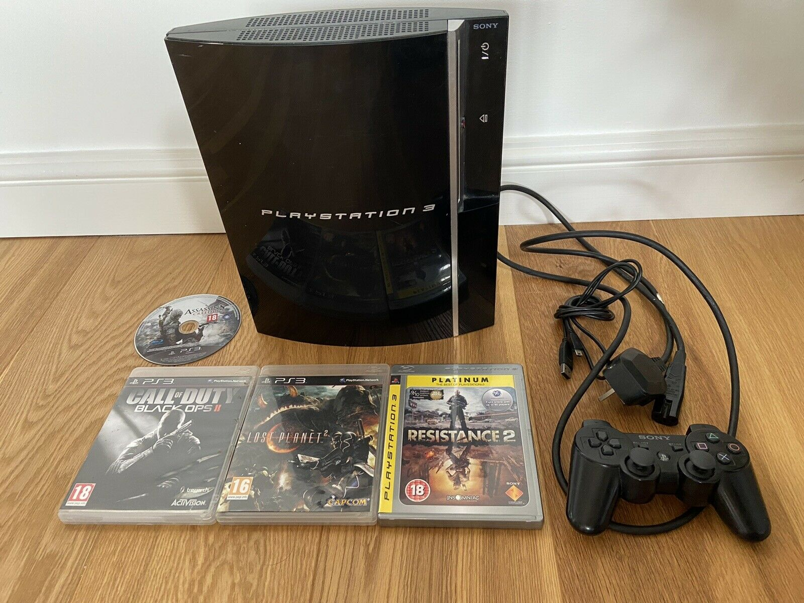 PS3 PlayStation 3 Console 80GB Sony Controller 4 Games Lot Bundle TESTED