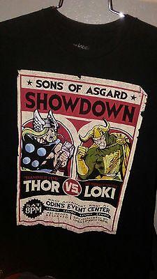 Thor Vs Loki T-shirt Size Marvel Sons of Asgard Showdown Odin Black medium