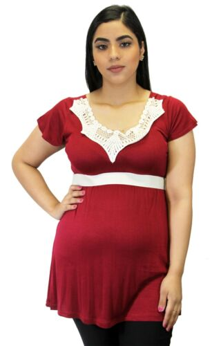 Burgundy Maternity Short Sleeve Solid White Lace Ribbon Removable Elegant Top