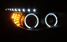 SCHEINWERFER SET BMW E60 E61 LED TAGFAHRLICHT TFL LOOK SCHWARZ LED BLINKER TÜV