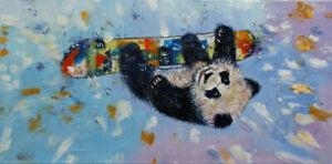 SNOWBOARDING-12x24-034-Oil-Painting-Panda-Snow-Winter-Sports-Original-Art-M-Creese