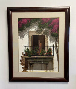 SPANISH VILLA ORIGINAL OIL ON CANVAS LANDSCAPE PAINTING by Victor Arriola