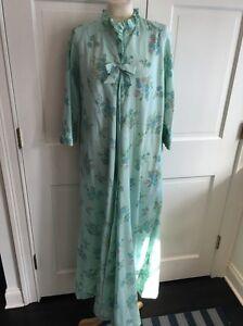Vintage-BERGDORF-GOODMAN-New-York-Robe-Nightgown-Blue-Floral-Bow-Sz-M-L-EUC