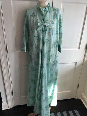 Vintage BERGDORF GOODMAN New York Robe Nightgown Blue Floral Bow Sz M L EUC