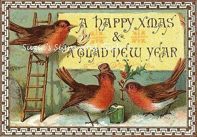 Vintage Christmas Fabric Block Happy Christmas Robins
