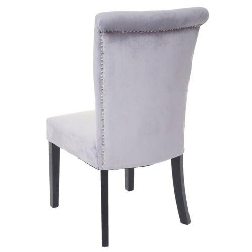 6x Dining Chair HWC-D22 Chair with Backrest, Studded Velvet, Light Grey
