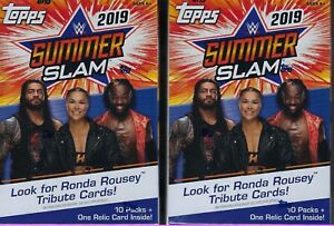 2-2019-Topps-WWE-SUMMER-SLAM-Wrestling-Trading-Cards-71c-Retl-BLASTER-Box-LOT