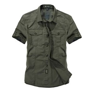 2020-Men-039-s-Short-Sleeved-Army-Cargo-Casual-Shirt-Work-Military-Dress-Shirts-Tops