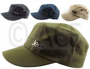 Mens Womens JEEP Cadet Hats Light Cotton Canvas Camping Cap Military ... 4bdb998d2f7