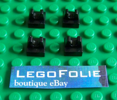 4 X Lego 2555 Tile, Modified 1 x 1 with Clip - Black