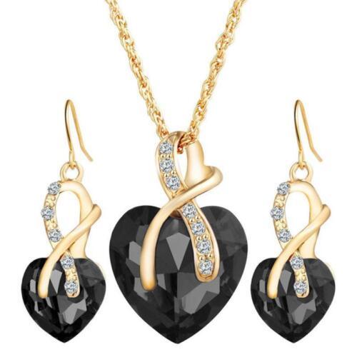 Crystal Heart Jewellery Set Drop Earrings Necklace and Pendant Ladies Women LA