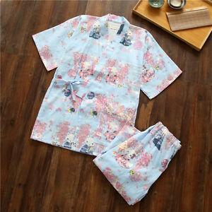 Sky-Blue-Chinese-Japanese-Cats-Ladies-Short-Kimono-Pyjamas-Pajamas-Set-ladpj111
