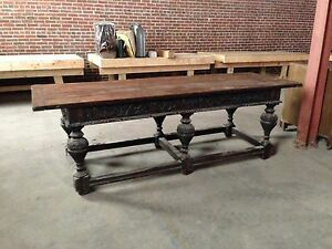 Image Is Loading Oak Antique Trestle Table With Ornate Legs And