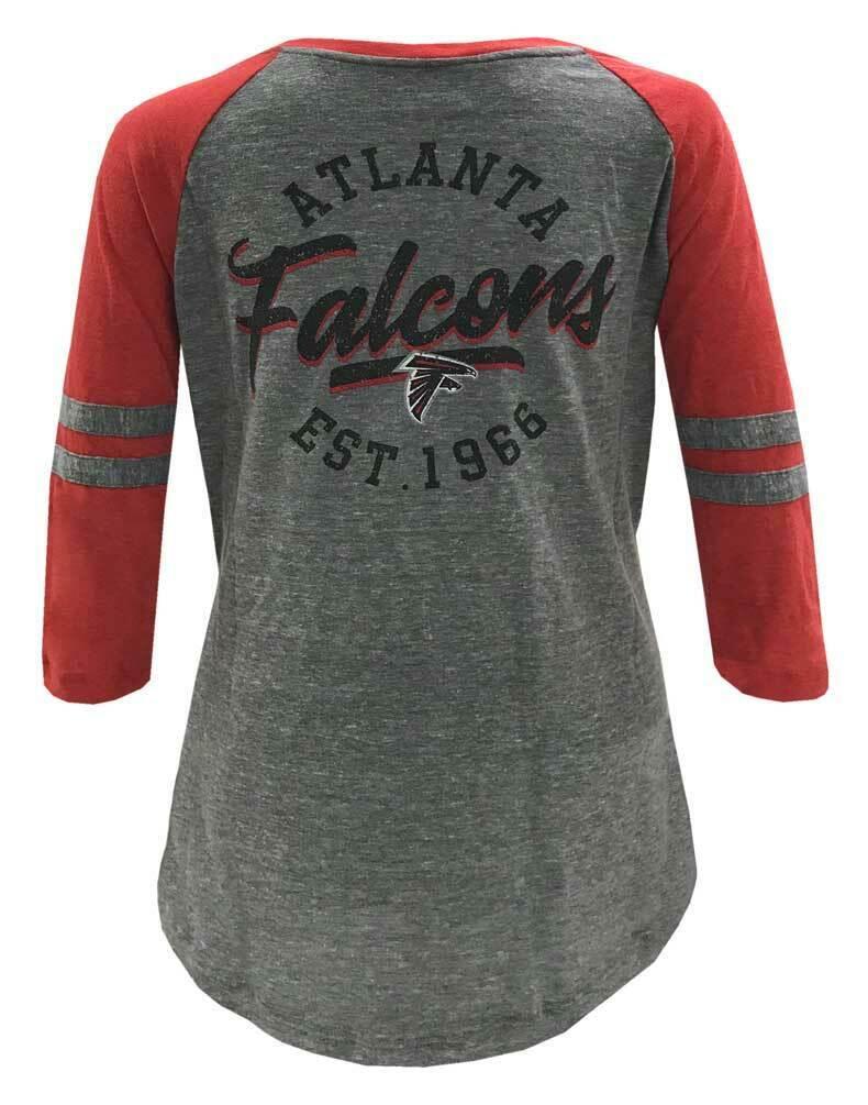 New Era Womens NFL Atlanta Falcons Lace-Up Tee T-Shirt Stripe Sleeve 70021L