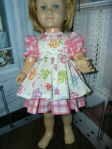 3-Pc-Set-Dress-Butterfly-Print-Apron-19-20-034-Doll-clothes-fit-Mattel-Chatty-Cathy