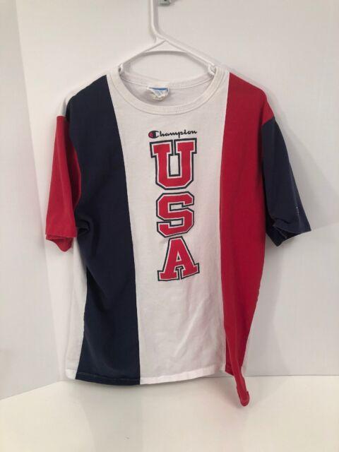 7f637c76d Champion Mens Let's Go USA Graphic T-shirt White XL Vintage America ...