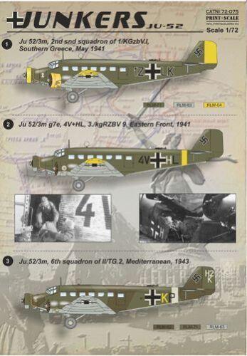 Print Scale 1//72 Junkers Ju-52//3m #72075