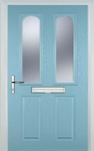 2 panel 2 arch glazed composite front door in duck egg for Duck house door size