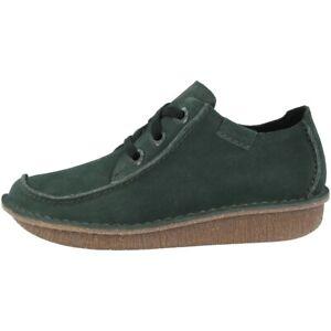 Details zu Clarks Funny Dream Schuhe Damen Halbschuhe Leder Schnürschuhe green 26144125