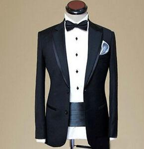 Image Is Loading Custom Made Black Wool Men Wedding Suit Detachable
