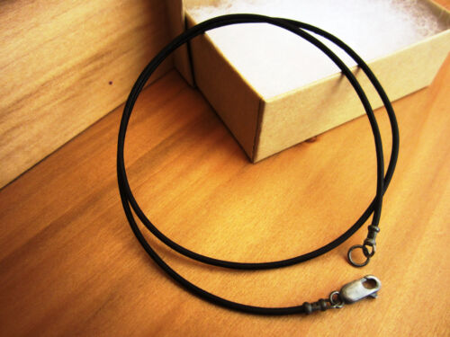 1.5mm Leather Cord Necklace mens Antiqued Sterling Silver Clasp//ends Black
