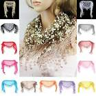 Fashion Women Lace Sheer Floral Print Triangle Veil Scarf Shawl Wrap Tassel