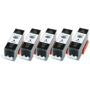 5-Druckerpatronen-Black-fuer-Canon-MX870-PGI-520-mit-Chip-und-Videolink