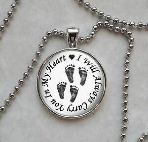 Carry you in my heart twins baby footprints miscarriage pendant image is loading carry you in my heart twins baby footprints aloadofball Choice Image
