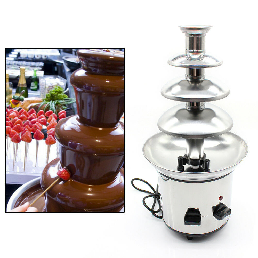 4 Tier Commercial Stainless Steel Chocolate Fondue Fountain
