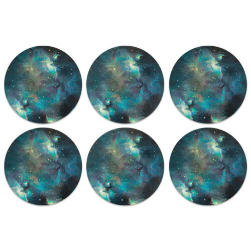 Set of 6 Round Absorbent Fabric Felt Neoprene ROUND Coasters Decor Kitchen Home