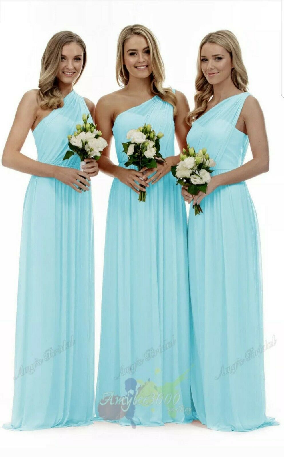 2 Chiffon One-shoulder Long Evening Formal Party Ball Gown Prom Bridesmaid Dress