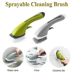 Multi Function Kitchen Bathroom Cleaning Brush Liquid Water Spraying Long Handle Ebay