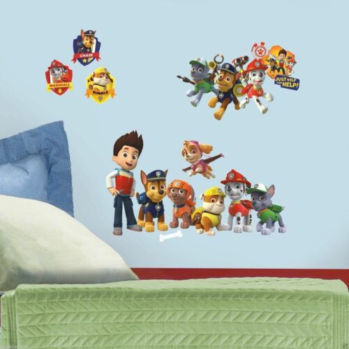 Paw Patrol Figures Wall Decals Zuma Rocky Skye Chase Marshall Rubble Stickers