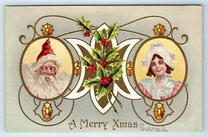 Vintage-Postcard-A-Merry-Xmas-Christmas-Santa-Claus-Little-Girl-AS-Meeker