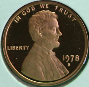 1975 S Lincoln Penny One-Cent Proof U.S Mint Copper Coin 1c from Proof Set