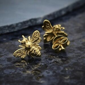Shiny-14-Kt-Gold-Vermeil-Bumblebee-Honey-Bee-Studs-Stud-Post-Earrings-Gift