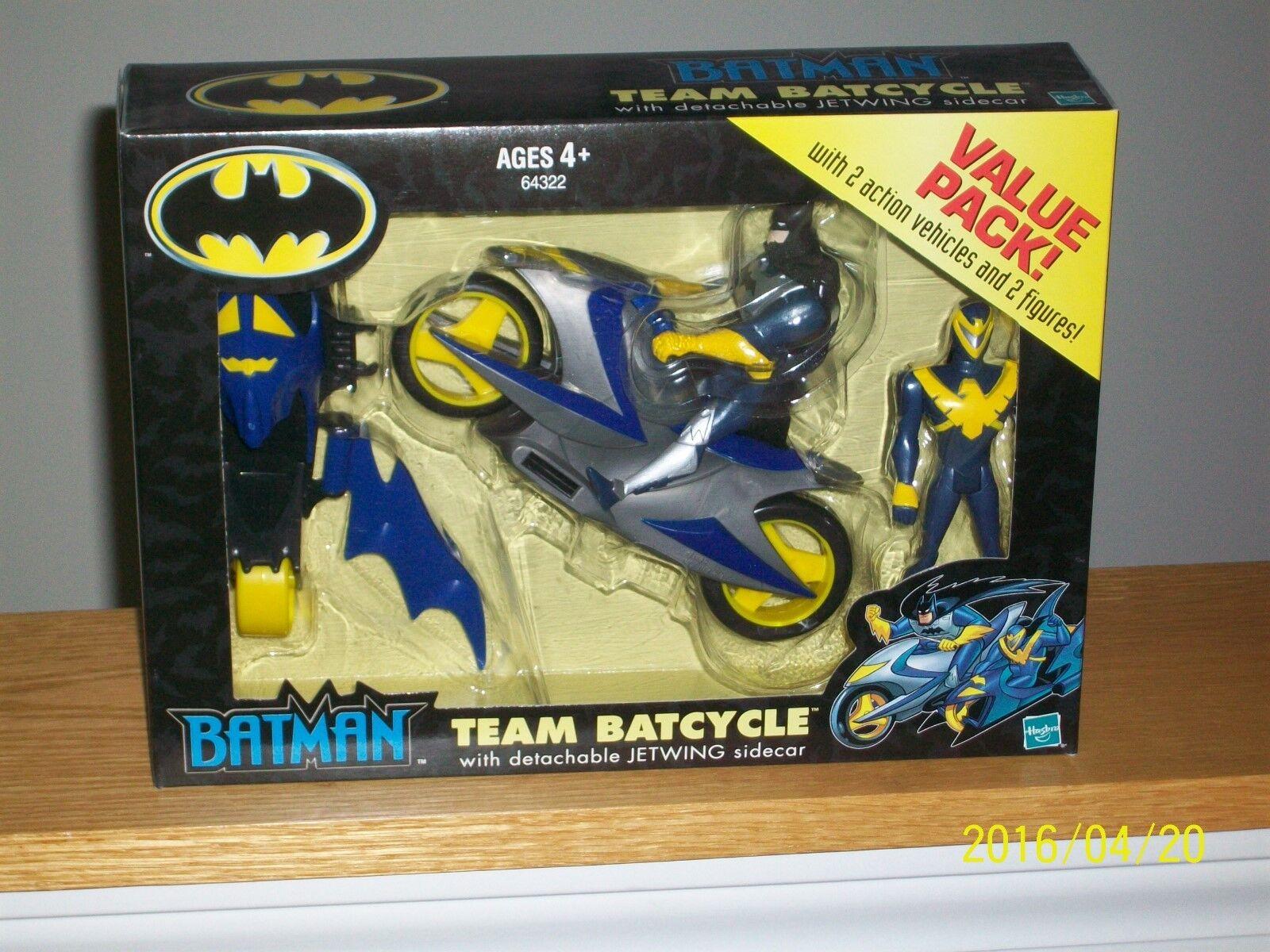 Hasbro batman - team batcycle mit nightwing und abnehmbare jetwing beiwagen