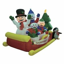 Christmas Inflatable Snowmen on Sleigh Outdoor Decoration Blow up Carolers
