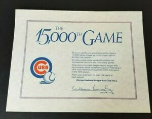 Chicago-Cubs-15000th-Game-Sept-3-1978-Certificate-of-Attendance-SGA-Rare-Item