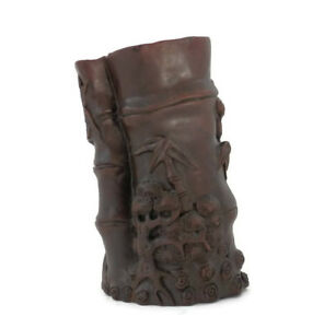 Chinese-Brush-Pot-Hand-Carved-Wood-Antique-Scholar-039-s-Tools-Bamboo