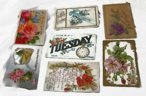 7-Antique-Postcards-Floral-Poppies-Roses-Forget-Me-Nots