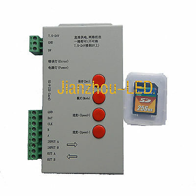 T-1000S SD Card LED Controller for WS2811 WS2801 WS2812B Pixel RGB Strip 5V-24V