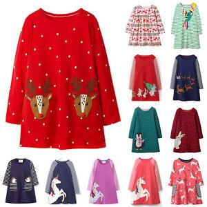 Girls-Kids-Autumn-Clothes-Long-Sleeve-Festival-New-Party-Unicorn-T-Shirt-Dress