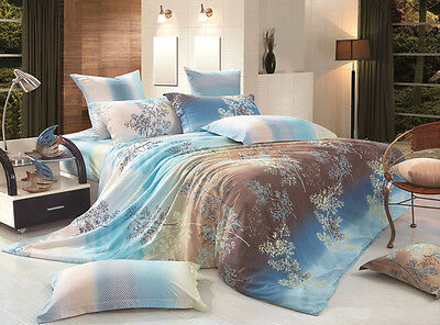 Single/Double/Queen/King Quilt/Duvet Cover+Fitted Sheet Set-Camphor Tree