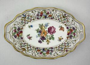 Vintage Schumann Dresden Art Basket Candy Dish Bavaria German Porcelain br1