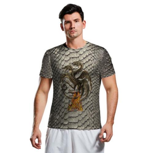 Game of Thrones Mens T-shirt Short Sleeve 3D Print Tee Tops Crew Neck Summer