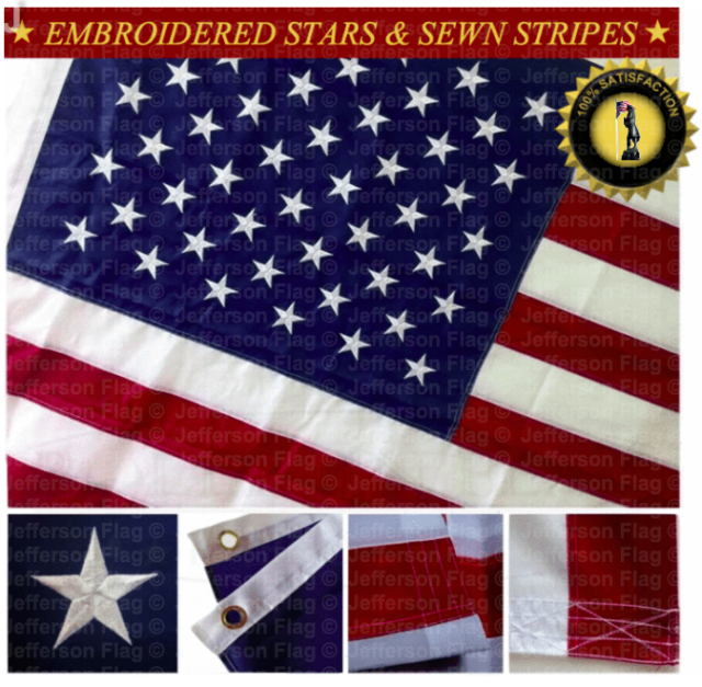 American Flag with Brass Grommets new HIGH QUALITY 3/' x 5/' FT Embroidered U.S.A