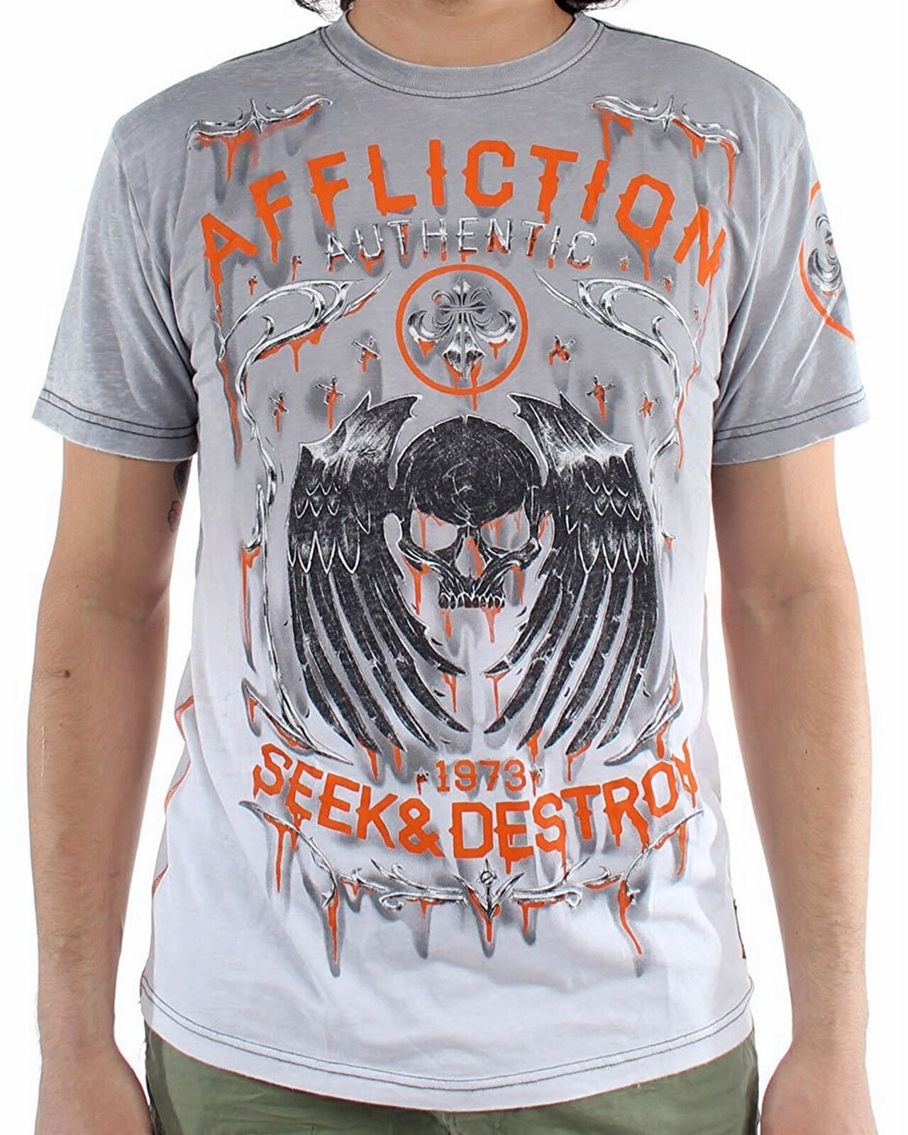 New AFFLICTION Men's Grey Casual Graphic Printed Amount 50 50 S S Crew Tee Shirt